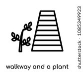 walkway and a plant icon... | Shutterstock .eps vector #1085349923