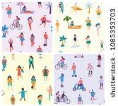 vector seamless patterns in... | Shutterstock .eps vector #1085353703