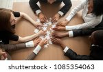 diverse team people assembling... | Shutterstock . vector #1085354063