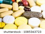 medicine pills or capsules on...   Shutterstock . vector #1085363723