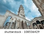The bell tower of the diocletian palace in Split, Croatia. - stock photo