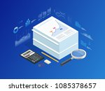 isometric stack of documents... | Shutterstock .eps vector #1085378657