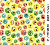 smiles emoji seamless pattern.... | Shutterstock .eps vector #1085404397