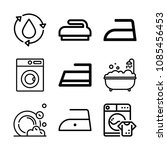 outline washing icon set such... | Shutterstock .eps vector #1085456453