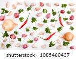 fresh garlic and onion... | Shutterstock . vector #1085460437