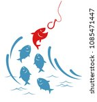fishes jumping out of the water ... | Shutterstock .eps vector #1085471447
