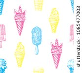 fun summer pattern with hand... | Shutterstock .eps vector #1085477003