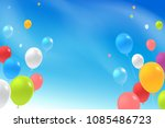 multicolored flying balloons in ... | Shutterstock .eps vector #1085486723