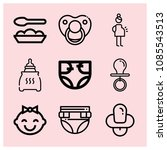 outline baby icon set such as... | Shutterstock .eps vector #1085543513