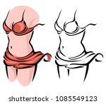 graceful female figure in red... | Shutterstock .eps vector #1085549123