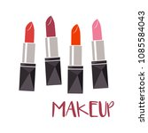 set of color lipsticks. red ... | Shutterstock .eps vector #1085584043