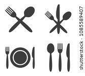 plate  fork  spoon and knife... | Shutterstock .eps vector #1085589407