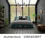 bedroom interior design 3d... | Shutterstock . vector #1085603897