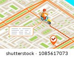 isometric delivery city street... | Shutterstock .eps vector #1085617073
