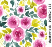 seamless watercolor floral... | Shutterstock . vector #1085624153