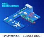 global logistics network flat... | Shutterstock .eps vector #1085661803
