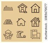 set of 9 home outline icons... | Shutterstock .eps vector #1085670077