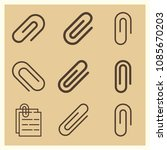 set of 9 clip outline icons... | Shutterstock .eps vector #1085670203