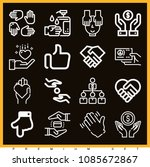set of 16 hands outline icons... | Shutterstock .eps vector #1085672867
