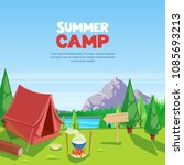 summer camping vector cartoon... | Shutterstock .eps vector #1085693213
