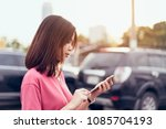woman using smartphone for the... | Shutterstock . vector #1085704193
