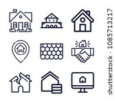 set of 9 house outline icons... | Shutterstock .eps vector #1085713217