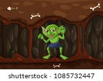 goblin in the mystery cave... | Shutterstock .eps vector #1085732447