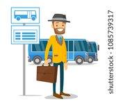 A White Man Waiting A Bus On A...