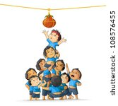 vector illustration of boys at playing dahi handi in Janmashtami - stock vector