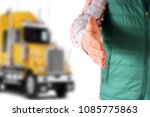 driver with an open hand ... | Shutterstock . vector #1085775863