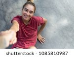 top view of happy sensual young ... | Shutterstock . vector #1085810987