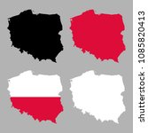 poland map with national flag... | Shutterstock .eps vector #1085820413