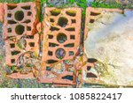 dirty old cracked bricks on the ... | Shutterstock . vector #1085822417
