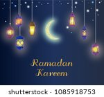 ramadan hanging shiny lanterns... | Shutterstock .eps vector #1085918753