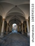 Small photo of View through a beautiful arched passage to the Sukiennice, Wroclaw, Poland. Built in medieval times and located in the main marketplace, it was originally a cloth hall or trading hall