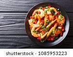 portion of spicy shrimp with... | Shutterstock . vector #1085953223