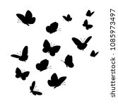 flying butterflies silhouettes. ... | Shutterstock .eps vector #1085973497