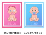 its a boy and girl posters set...   Shutterstock .eps vector #1085975573