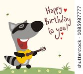 funny raccoon with guitar sings ... | Shutterstock .eps vector #1085987777