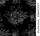 vintage peony vector pattern | Shutterstock .eps vector #1086015317