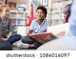 multiethnic group of kids... | Shutterstock . vector #1086016097