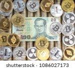 silver gold crypto coins...   Shutterstock . vector #1086027173