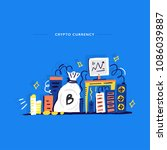 illustration on cryptocurrency... | Shutterstock .eps vector #1086039887
