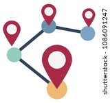 map pin isolated vector icon  | Shutterstock .eps vector #1086091247