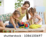 adorable children with mother... | Shutterstock . vector #1086100697