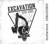 excavation work logo design ... | Shutterstock .eps vector #1086102803