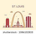 st. louis city skyline ... | Shutterstock .eps vector #1086102833
