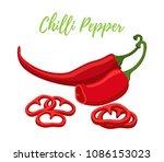 vector set of chilli pepper... | Shutterstock .eps vector #1086153023
