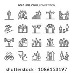 competition  bold line icons.... | Shutterstock .eps vector #1086153197