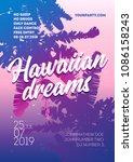 hawaiian dreams poster template.... | Shutterstock .eps vector #1086158243